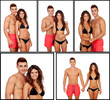 Young couple lifeguards in swimsuit