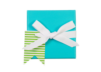 Wrapped Gift Box and White Ribbon Bow on White background