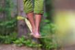 Leinwandbild Motiv Slack line in the nature.