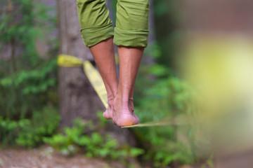 Slack line in the nature.