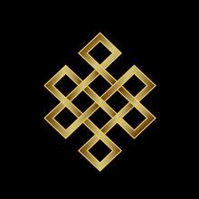 Golden Endless knot. Concept van de Karma, Time, spiritualiteit