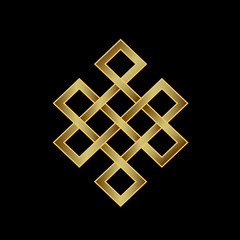 Golden Endless knot. Concept of Karma, Time, spirituality