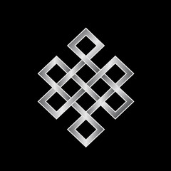 Platinum Endless knot. Concept of Karma, Time, spirituality