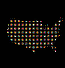 United States color square dot map image.