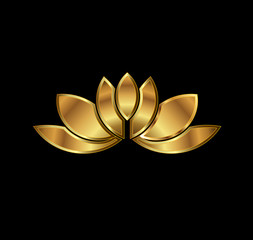 Gold Lotus plant image. Concept of luxury spa
