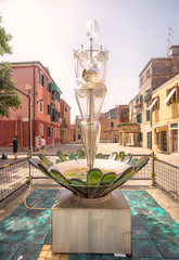 Glass statue of woman on Murano or Burano island