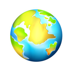 Isolated  Realistic Vector Globe