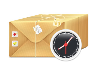 Vector Box Parcel with Clock