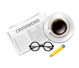Vector Crossword, Glasses, Cup of Coffee