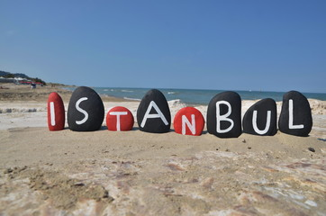 Istanbul, souvenir on black and red stones