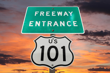 US 101 Freeway Sign Sunset