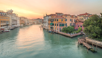 View to the grand canal and Academy in Venice