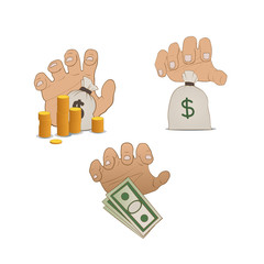 illustration of hands on money
