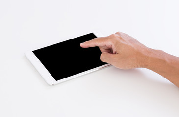 Man hand touching black screen tablet on white background