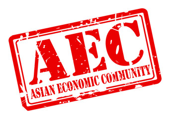 AEC asian economic community stamp with red text on white