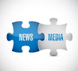 news, media puzzle pieces illustration design