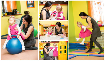 Mother and child girl playing in kindergarten in Montessori