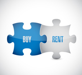 buy, rent, puzzle pieces illustration design