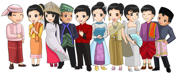Group of Southeast Asia people with different race and culture i