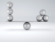 canvas print picture - white spheres in equilibrium. Balance concept