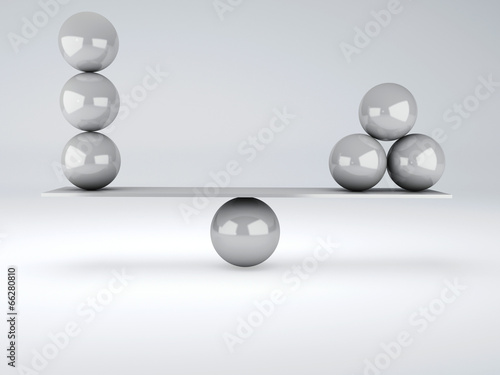 canvas print picture white spheres in equilibrium. Balance concept