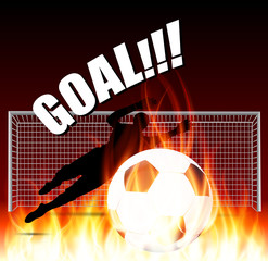 goal keeper save the fire ball
