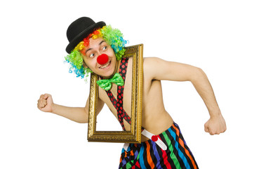 Clown with picture frame isolated on white