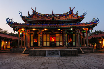 Night scene of Confucius Temple in Taipei, Taiwan