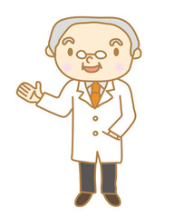 シニア男性 白衣