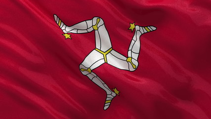 Flag of Isle of Man waving in the wind - seamless loop