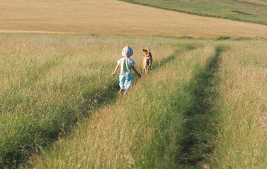 child and dog walking among the fields and meadows