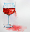 Quadro wine glass painting with watercolor