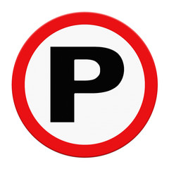 Parking traffic sign on white background
