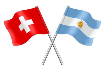 Flags : Switzerland and Argentina