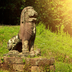 Ancient sculpture of a Lion near Angkor Wat