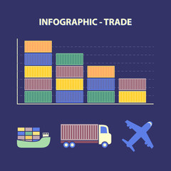 infographic decline trade and transport icons in flat design