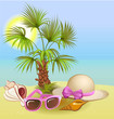 summer holiday background with palm,hat, shells
