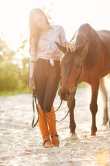Beautiful woman and horse. Backlight.