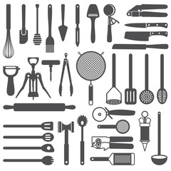 Kitchen utensils vector silhouette icons set