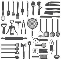 Kitchen utensils vector silhouette icons set
