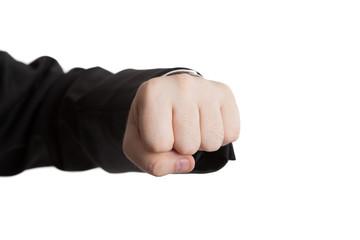 man's hand indicates fist