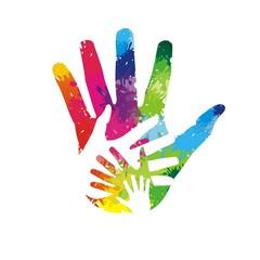 bunte Hände aus Farbklecksen