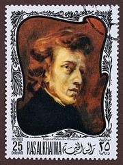 Postage stamp, a painting by Eugene Delacroix, Chopin