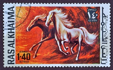 Postage stamp, painted horses