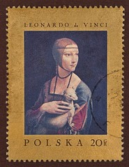 "Postage stamp, Leonardo da Vinci, ""Lady with an Ermine"""