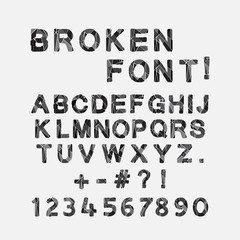Broken font, alphabet and numbers