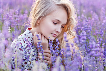 Beautiful Girl in Lavender Field