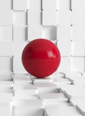Concept illustration with tiled cubes and red ball © XtravaganT