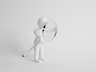 3d character carrying a magnifying glass