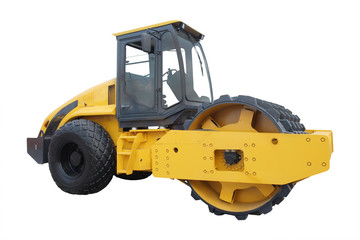 Modern yellow road roller separately